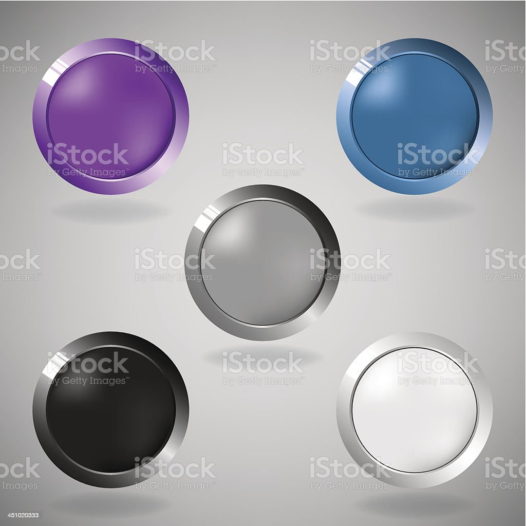 Five colorful buttons on grey background. royalty-free stock vector art