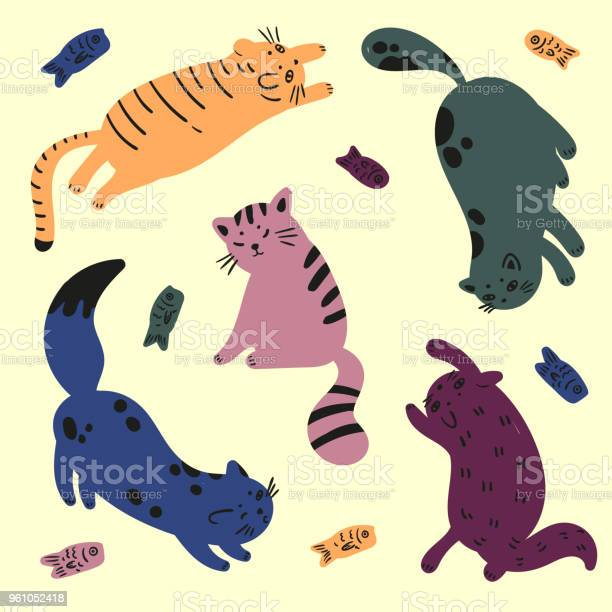 Five colorful cats are playing with fish catfood vector id961052418?b=1&k=6&m=961052418&s=612x612&h=fnbgrm78nhbiigzf dv2szygrh5vwzd8udvltzuczb0=