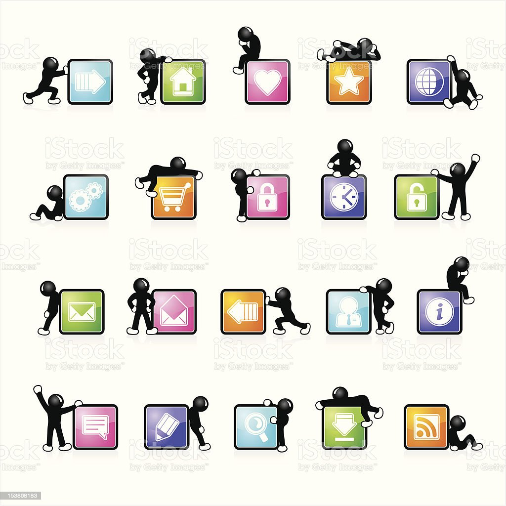 Five colors glossy web icons vector art illustration