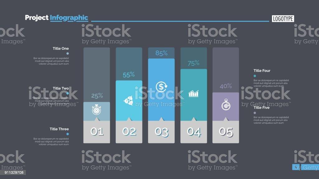 Five Columns Bar Chart Slide Template vector art illustration