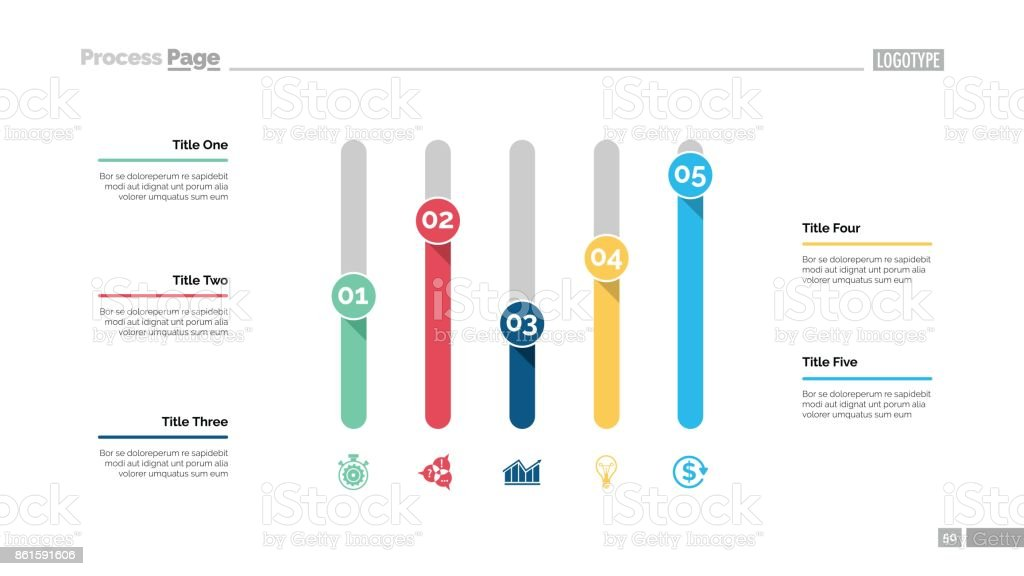 Five Columns Chart Slide Template vector art illustration