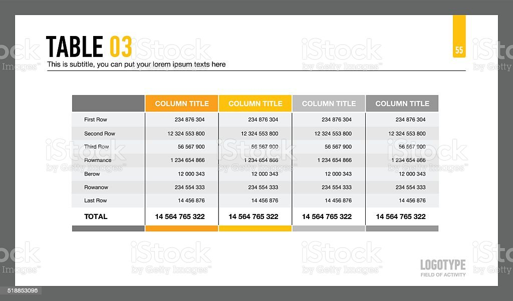 Five Columns Table Slide vector art illustration