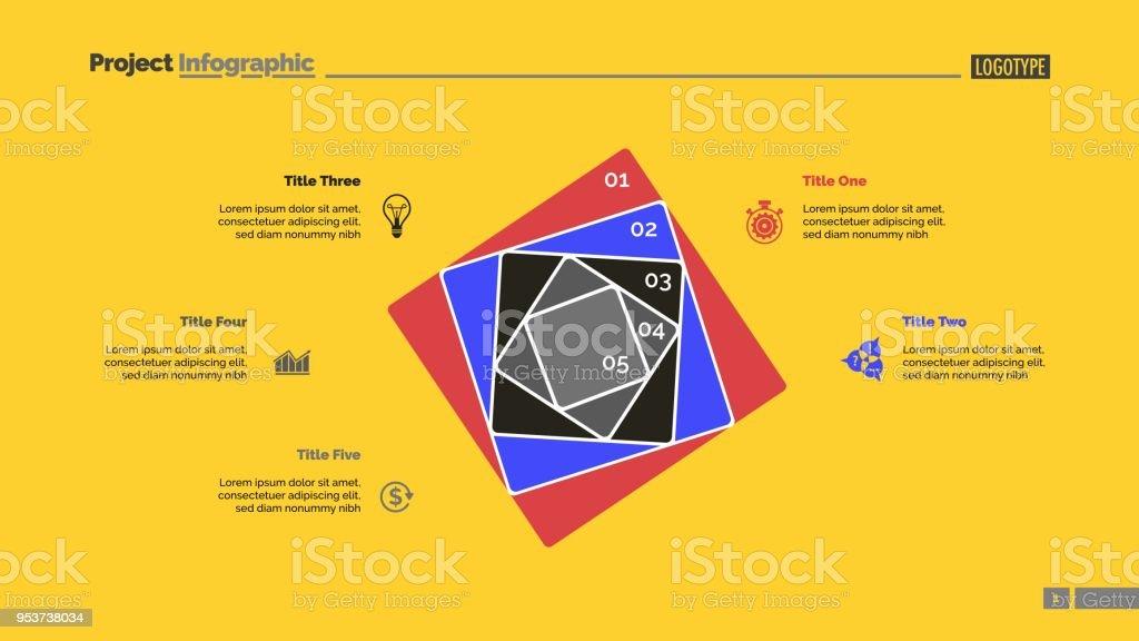 Fünf Konzentrische Quadrate Schieben Vorlage Stock Vektor Art und ...