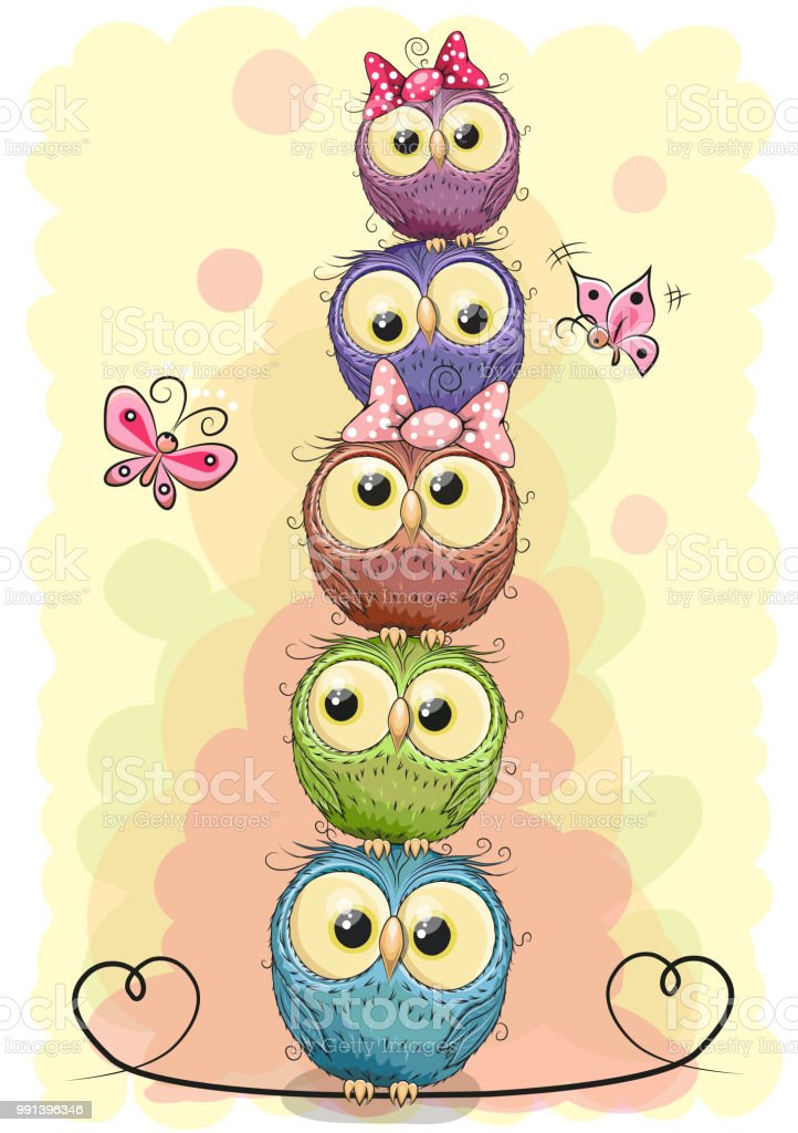 Five cute owls on a yellow background vector art illustration