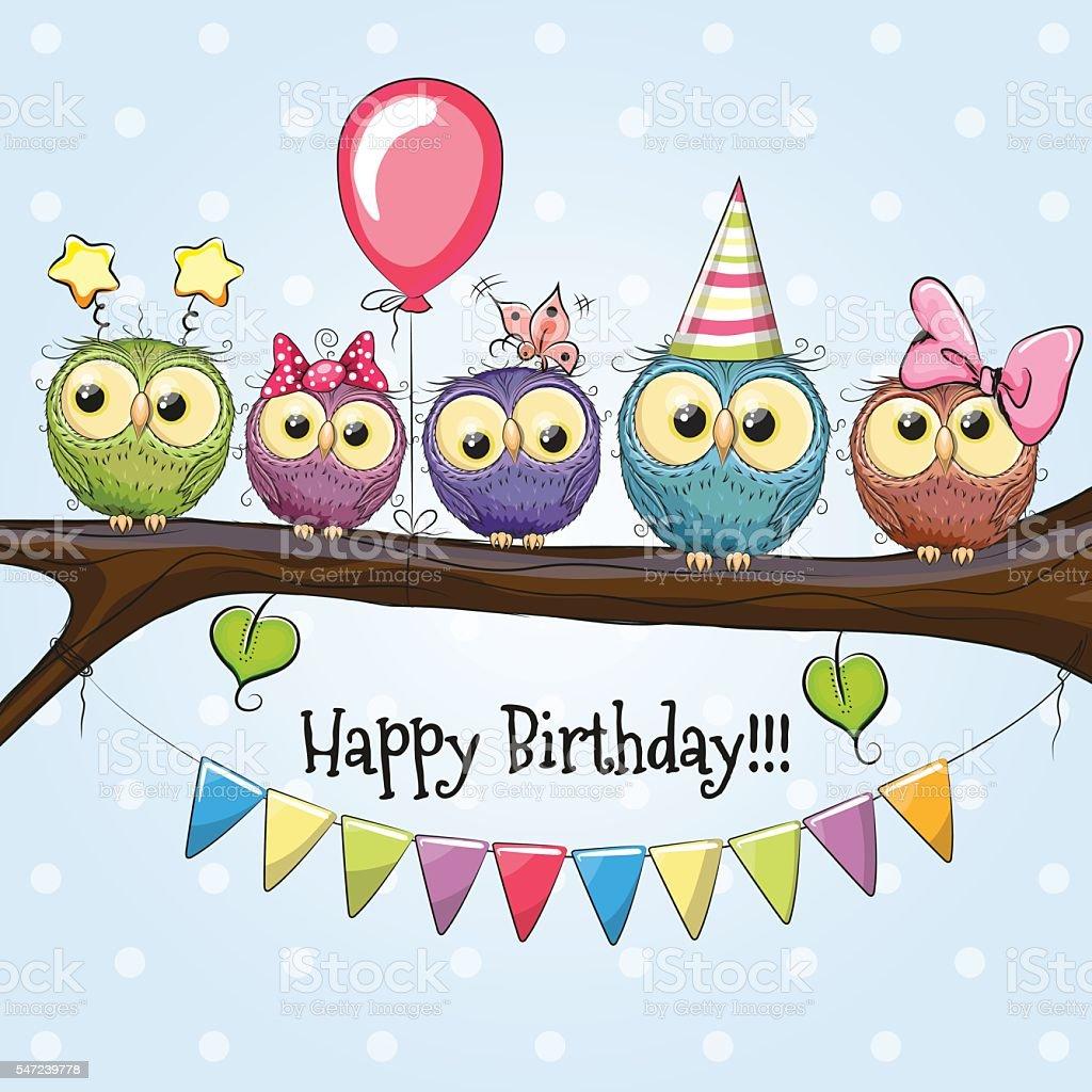 Five Cute Owls vector art illustration