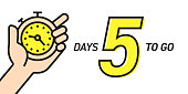 Five Days Left Countdown Vector Illustration Template