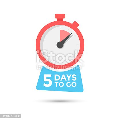 istock Five Days To Go Badge Vector Design on Isolated White Background. 1254991008
