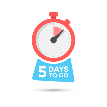Five Days To Go Badge Vector Design on Isolated White Background.