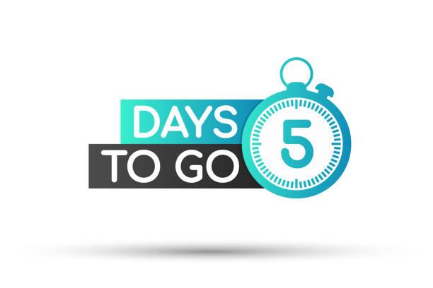 illustrazioni stock, clip art, cartoni animati e icone di tendenza di five days to go badges or flat design. vector illustration. - mancino