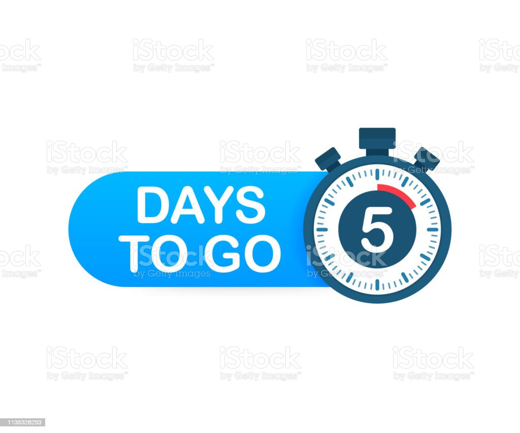 Five days to go. Time icon. Vector stock illustration on white...