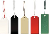 Set of price tags of various shapes and colors