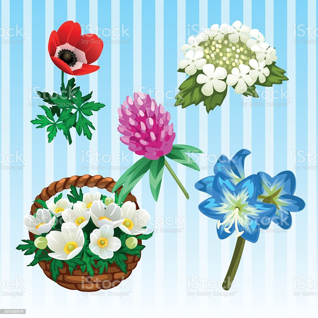 Five different flower types single and bouquet stock vector art five different flower types single and bouquet royalty free five different flower types single izmirmasajfo