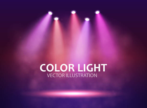 Five different Spotlight on stage for your design. Colorful light. Five different Spotlight on stage for your design. Colorful light. Vector illustration. fame stock illustrations