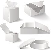 Five different vector white boxes