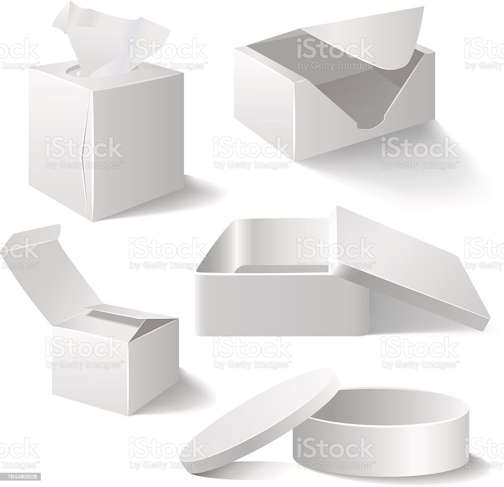 Five different vector white boxes vector art illustration