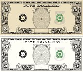 Designed by a hand engraver. Stylized FIVE dollar bill note with copy space. Turn off backgrounds in center ovals to add text of your choice. Intricate and highly detailed scrollwork. Change color and scale easily with the enclosed EPS 10 and AI files. No transparencies or special effects. Also includes hi-res JPG.