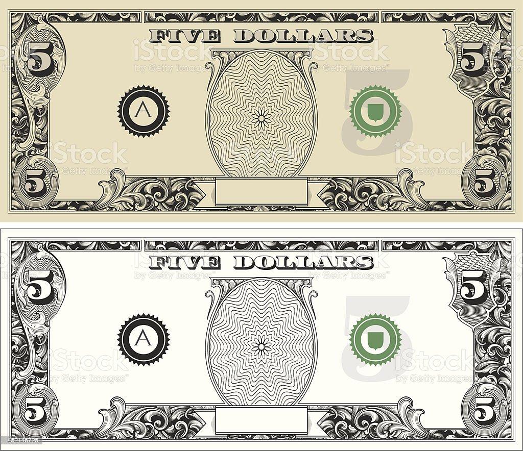 Five Dollar Bill vector art illustration