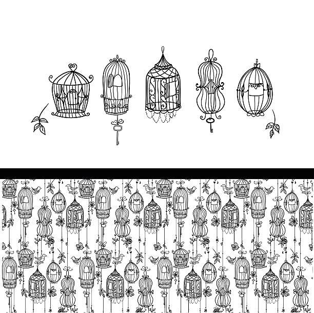 illustrations, cliparts, dessins animés et icônes de cinq doodle cages et de motif sans couture ensemble. - dessin cage a oiseaux