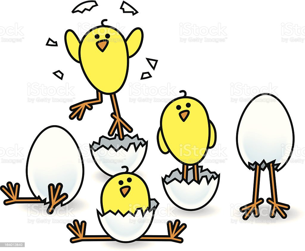Five Easter Chicks Hatching from Eggs royalty-free stock vector art