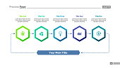 Five elements process chart slide template. Business data. Cycle, step. Creative concept for infographic, presentation, report. For topics like training, teamwork, finance.