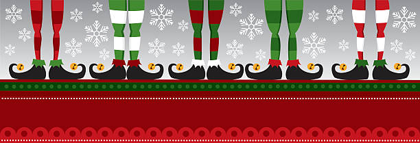 Five elves feet vector art illustration