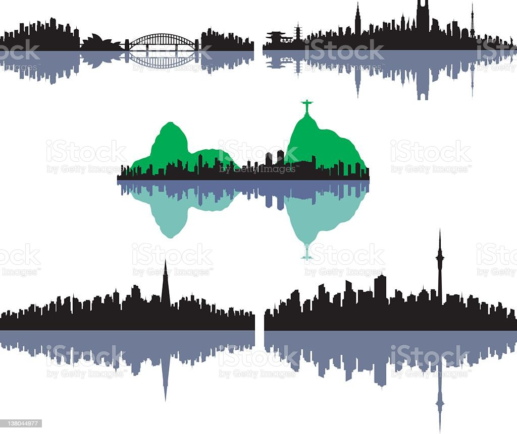 Five Famous Cities: Sydney, Tokyo, Rio, San Fransisco, and Auckl vector art illustration