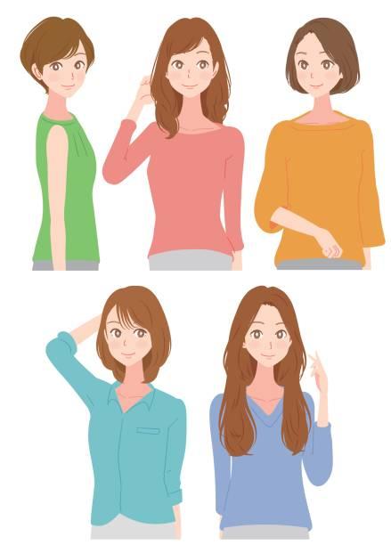 5 つのファッショナブルな女性 - 美容室点のイラスト素材/クリップアート素材/マンガ素材/アイコン素材