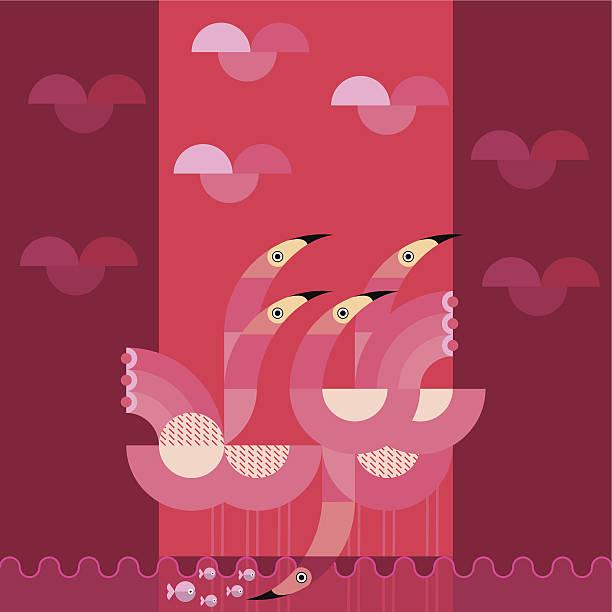 ilustraciones, imágenes clip art, dibujos animados e iconos de stock de cinco flamencos en un estanque con peces - tintanegra00