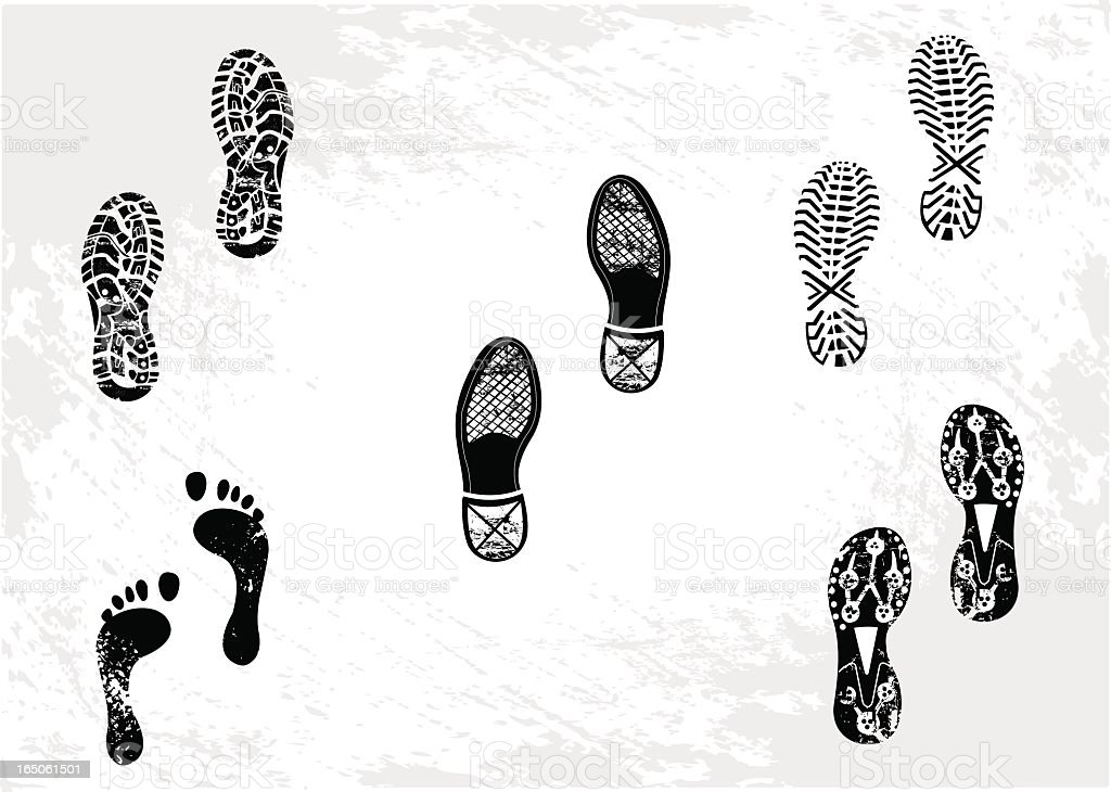 Five footprints including shoes and sneakers vector art illustration