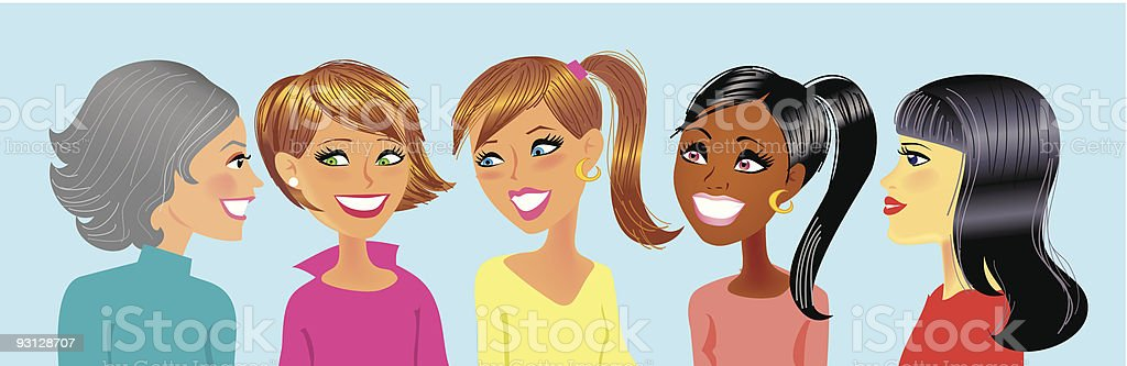 Five girls chatting in a group. vector art illustration