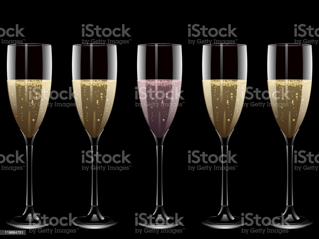 Five glasses of champagne on black background vector art illustration
