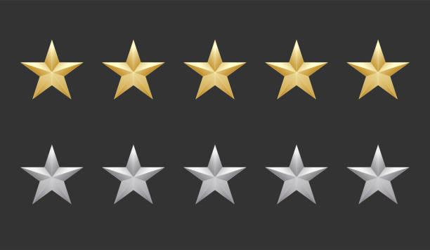 pięć złotych i srebrnych gwiazdek wysokiej jakości ikony na ciemnym tle. 5 gwiazdek gradientu. ilustracja rangi wektorowej eps 10 - kształt gwiazdy stock illustrations