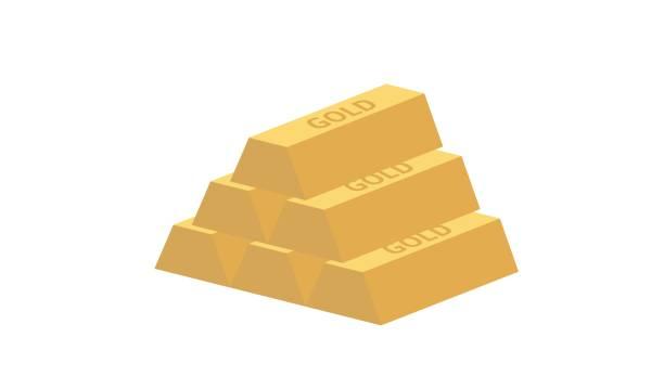 five gold ingots Five gold ingots isolated on white background. ingot stock illustrations