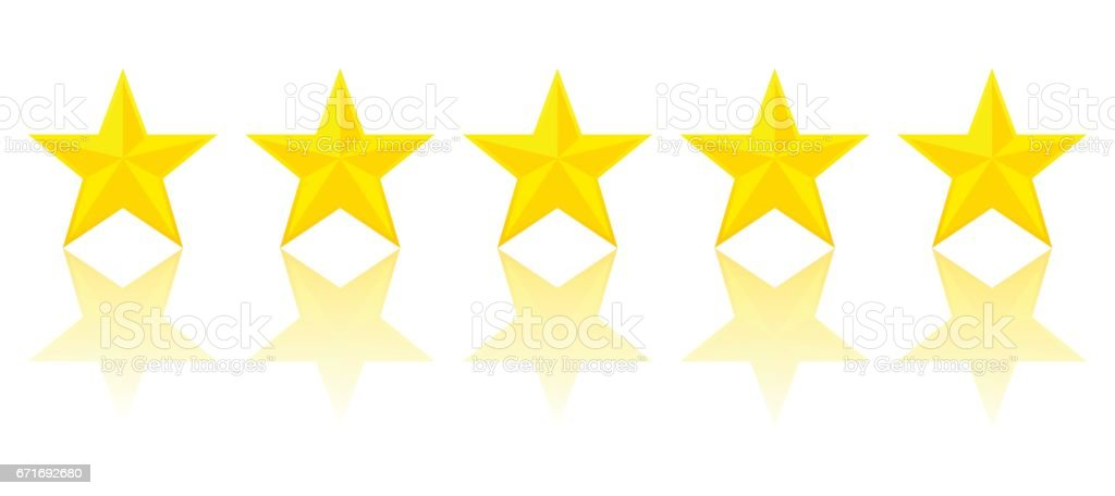 Five Gold Star Product Quality Rating With Reflection vector art illustration
