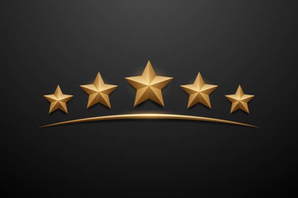 pięć złotych gwiazdek na czarnym tle - kształt gwiazdy stock illustrations