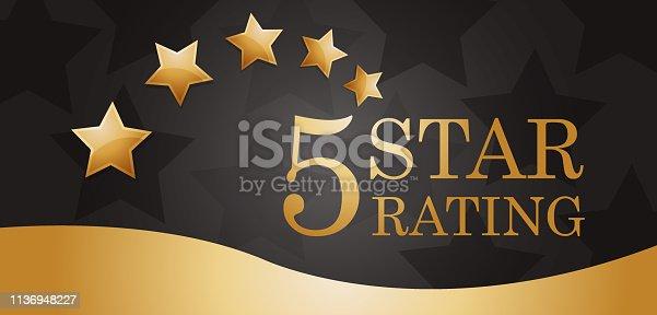 vector illustration of five golden rating star banner.
