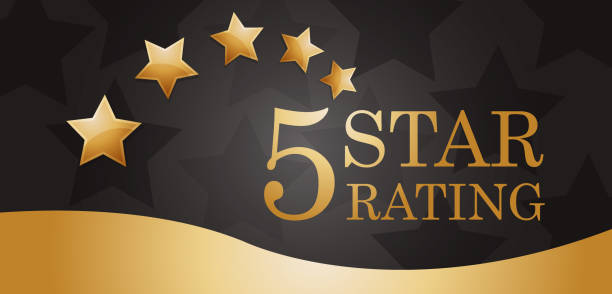 Five Golden Rating Star banner vector illustration of five golden rating star banner. celebrities stock illustrations
