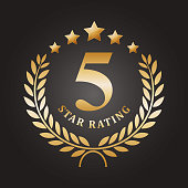 vector illustration of five golden rating star emblem.