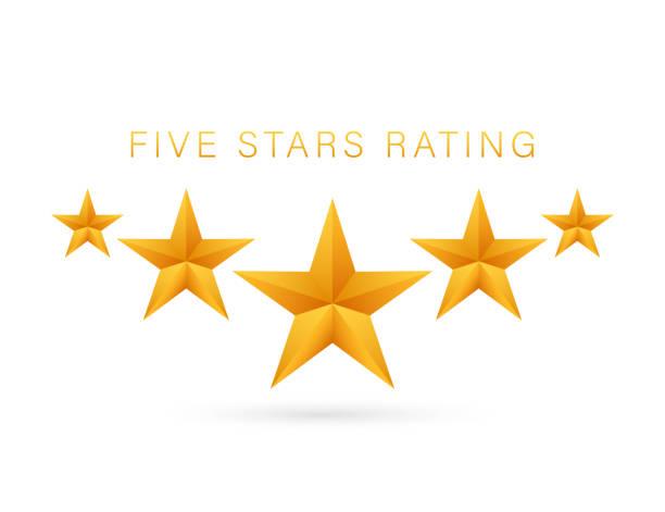 five golden rating star on white background. vector stock illustration - celebryci stock illustrations