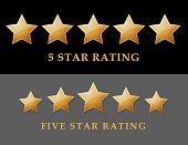 vector illustration of five golden rating star.