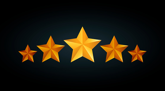 Five Golden Rating Star Vector Illustration In Gray Black ... (557 x 309 Pixel)