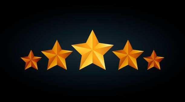 illustrations, cliparts, dessins animés et icônes de illustration vectorielle étoiles cinq cote d'or sur fond noir gris - voyages en première classe