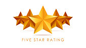 Five golden rating star vector illustration in white background.