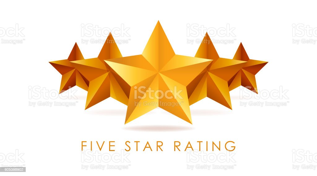 Five golden rating star vector illustration in white background vector art illustration