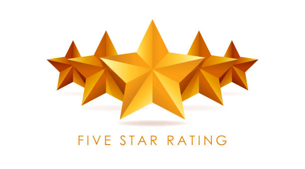 five golden rating star vector illustration in white background - evaluation stock illustrations