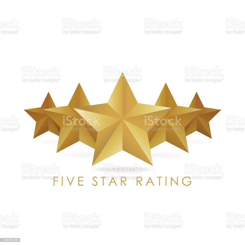 Five golden rating star vector illustration vector art illustration