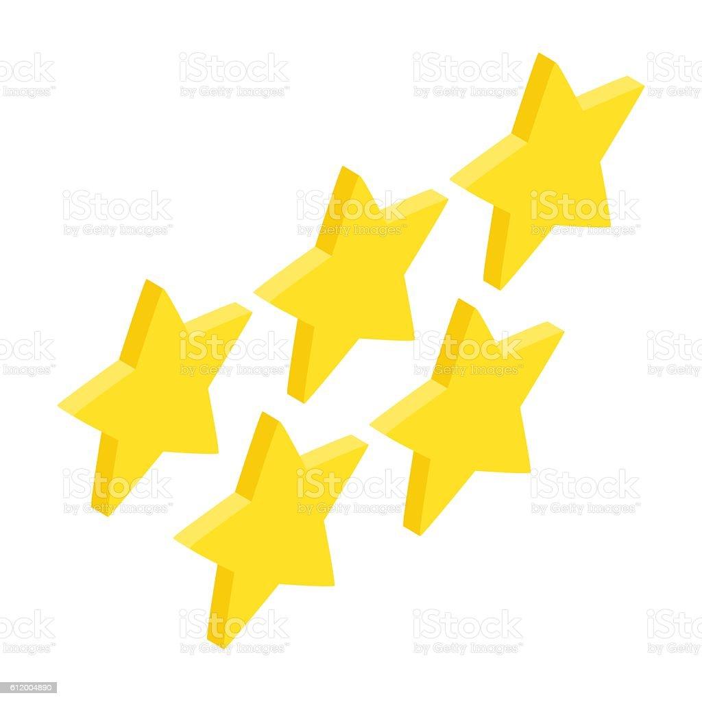 Five golden stars isometric 3d icon vector art illustration