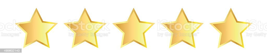 Five golden stars vector art illustration