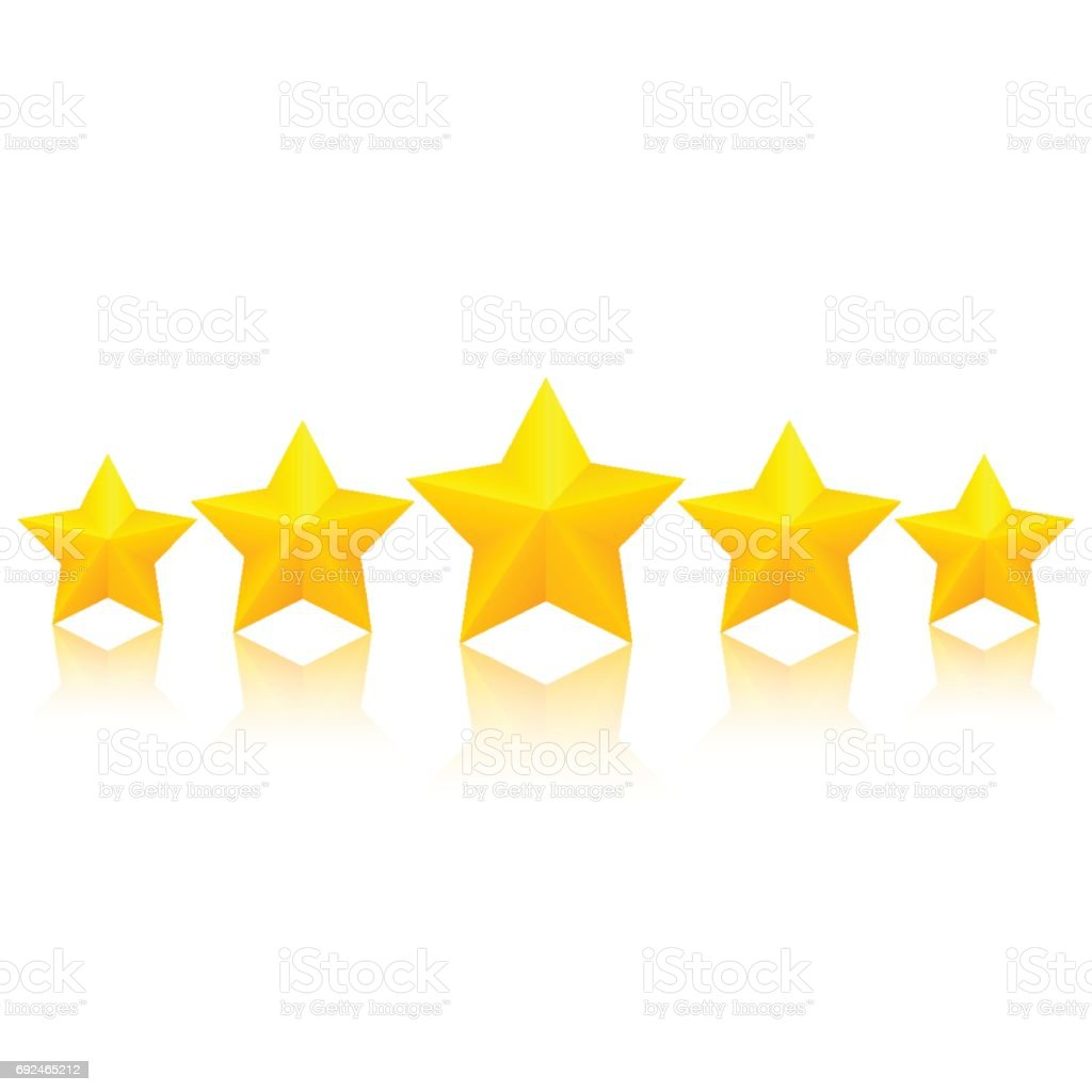 Five golden stars vector art illustration