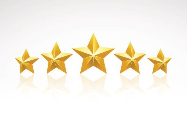 Five golden stars, vector art illustration
